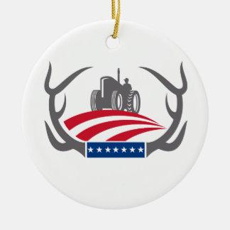 Geweih-Ackerschlepper-amerikanische Flagge Retro Keramik Ornament