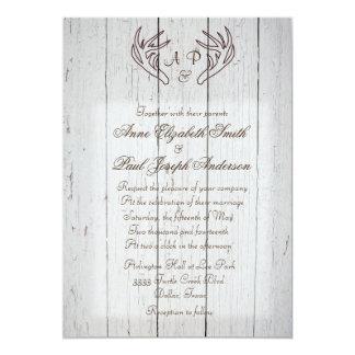 Geweih-rustikales Hochzeits-Einladungs-Weiß-Holz 12,7 X 17,8 Cm Einladungskarte