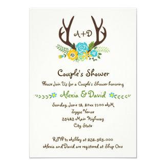 Geweih- u. Blumenmonogrammhochzeits-Paardusche 12,7 X 17,8 Cm Einladungskarte
