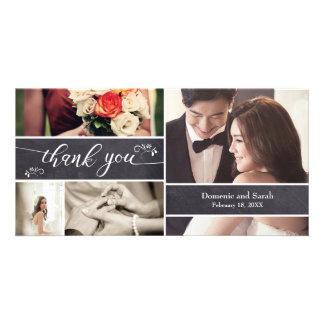 Geweißt, danken Foto-Collagen-rustikale Hochzeit Karte