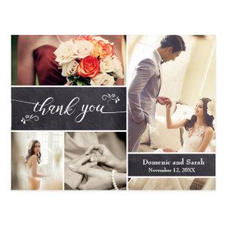 Geweißt, danken Foto-Collagen-rustikale Hochzeit Postkarte
