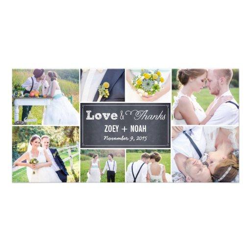 Geweißte Collagen-Hochzeit danken Ihnen Foto-Karte Foto Karten Vorlage