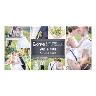 Geweißte Collagen-Hochzeit danken Ihnen Foto-Karte Photo Karten Vorlage