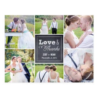 Geweißte Collagen-Hochzeit danken Ihnen zu Postkarte