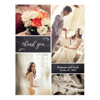 Geweißte Foto-Collagen-rustikale Hochzeit danken Postkarte