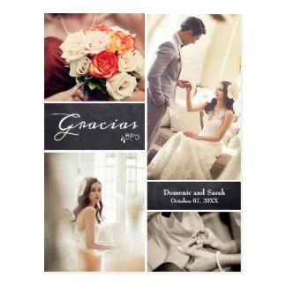 """Geweißte Foto-Collagen-rustikale Hochzeit """"Gracias Postkarte"""