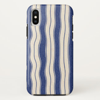 Gewellte blaue und weiße Streifen iPhone X Hülle