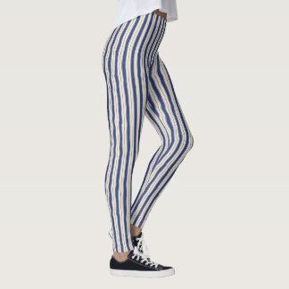 Gewellte blaue und weiße Streifen Leggings