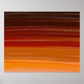 Gewellte Linien Abstraktions-Kunst-Browns Poster