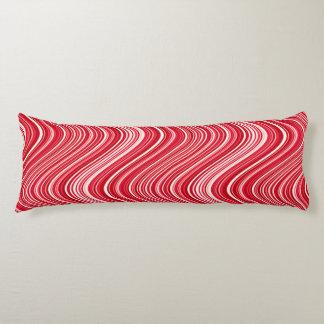 Gewellte Linien in Rotem und in weißem Seitenschläferkissen