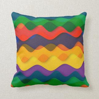 Gewellte Regenbogen-Farben Kissen