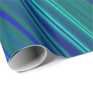 Gewellte Streifen des Aqua und des Königsblaus Geschenkpapier