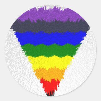 Gewellter Block-Faser-Regenbogen-Dreieck-Trichter Runder Aufkleber
