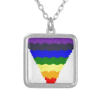 Gewellter Block-Faser-Regenbogen-Dreieck-Trichter Versilberte Kette