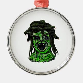 Gewendet an Stein Rundes Silberfarbenes Ornament