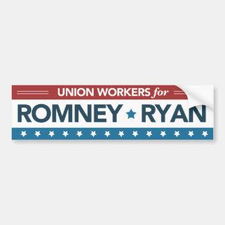Gewerkschafts-Arbeitskräfte für Romney Ryan Autoaufkleber
