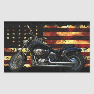 Gewerkschafts-Flagge, US Flagge, Motorrad Rechteckiger Aufkleber