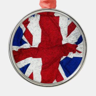 Gewerkschafts-Jack, Flagge, Blau, Nation stolze Silbernes Ornament