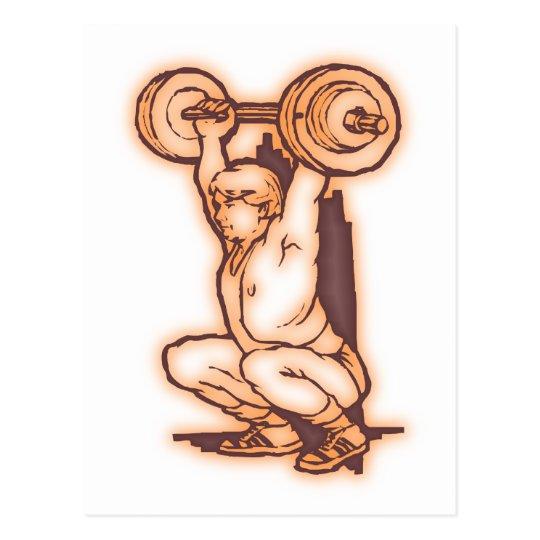 Gewichtheber weight lifter postkarte