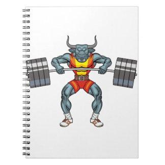 Gewichtsanhebenstier 3 notizblock