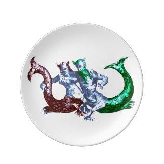 Gewidmete Meerjungfrau-Paar-Porzellan-Platte Porzellanteller