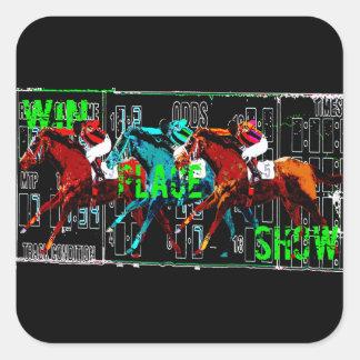 Gewinnplatz-Show-Pferderennen Quadratischer Aufkleber