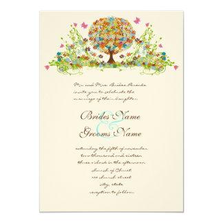 Gewirbelte Blumen-Liebe-Baum-Hochzeits-Einladung Karte