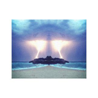 Gewitter auf der Strand-einzigartigen Grafik Leinwanddruck