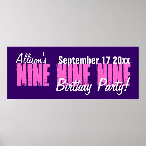 Gewohnheit 9-jährig-Geburtstags-Party-Fahne Poster
