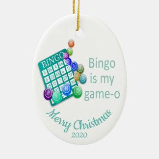 Gewohnheit datiertes Weihnachtsspaß-Bingo-Zitat Keramik Ornament