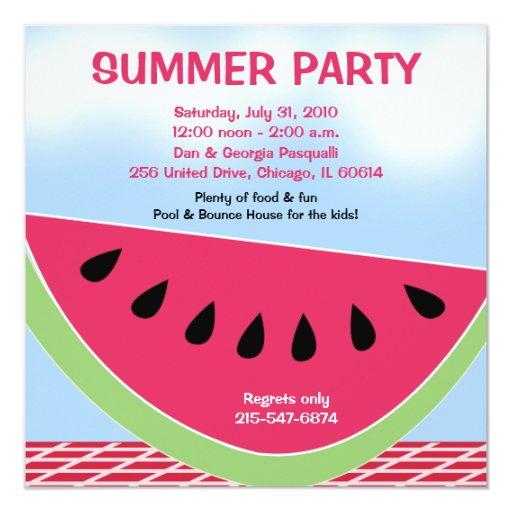 Gewohnheit der Sommer-Party-Picknick-Wassermelone Quadratische 13,3 Cm Einladungskarte