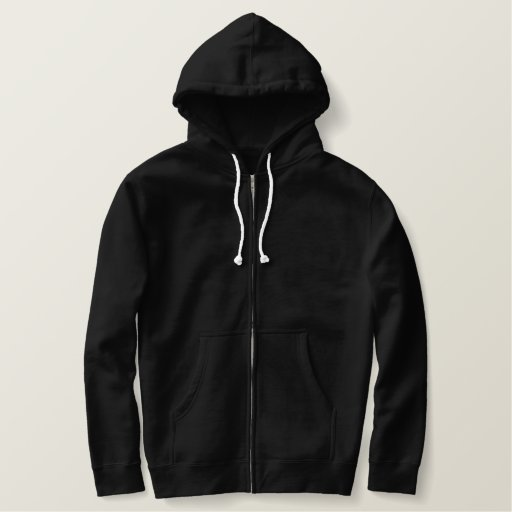 Black Embroidered Basic Zip Hoodie