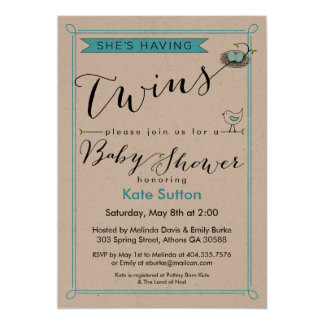 Gewohnheit hat sie Zwillings-Babyparty-Einladung Karte