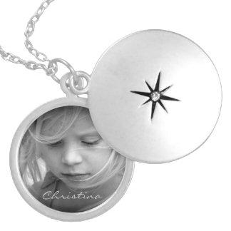 Gewohnheit Ihr personalisierte Mädchen des Fotos Runde Medaillon Halskette