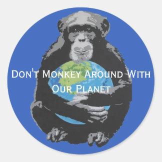 Gewohnheit Monkey herum nicht mit unserem Runder Aufkleber