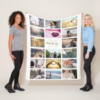 Gewohnheit monogramed Foto-Collage Fleecedecke