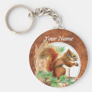 Gewohnheit, personalisiertes Eichhörnchen, Natur,  Standard Runder Schlüsselanhänger