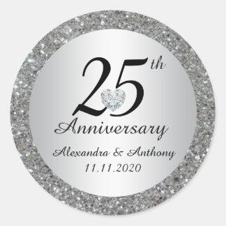 Gewohnheits-25. Hochzeits-Jahrestags-Umschlag Runder Aufkleber