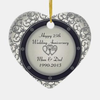 Gewohnheits-25. silberner Hochzeitstag Keramik Herz-Ornament