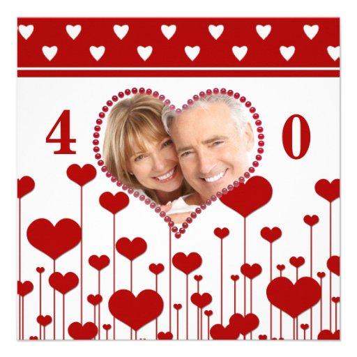 Alternative 40th Wedding Anniversary Gifts : Gewohnheits-40. Hochzeitstag-Einladungen Quadratische 13,3 Cm ...