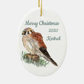 Gewohnheits-datierter WeihnachtsAquarellKestrel, Keramik Ornament