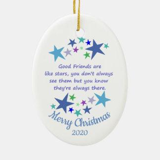 Gewohnheits-datiertes Weihnachtsgute Freunde wie Keramik Ornament