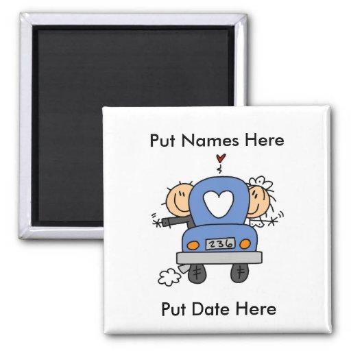 Gewohnheits-gerade verheirateter Hochzeits-Magnet Magnete