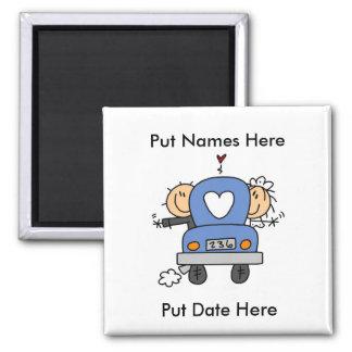 Gewohnheits-gerade verheirateter Hochzeits-Magnet Quadratischer Magnet