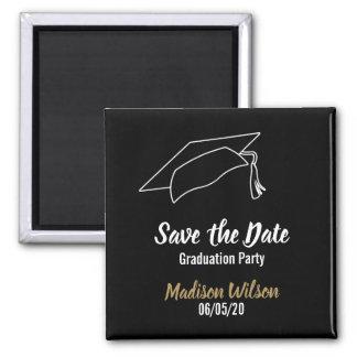Gewohnheits-Save the Date Abschluss-Party Quadratischer Magnet