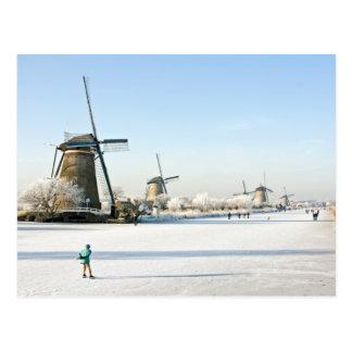 Gewöhnlich niederländisches Eis-Skaten bei Postkarte