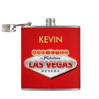 Gewöhnt nach Las Vegas, lustiges Zeichen Nevadas Flachmann