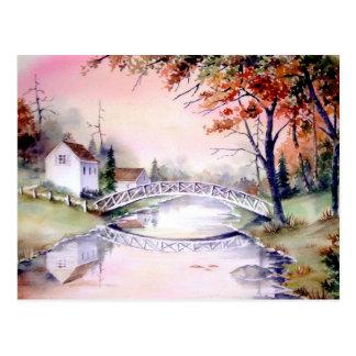 Gewölbte Brücken-Aquarell-Malerei Postkarte