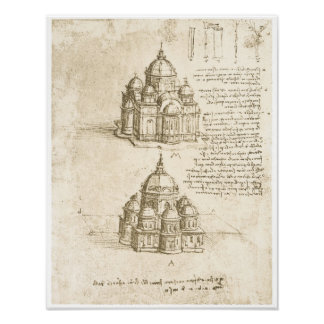 Gewölbte Kirchen, Leonardo da Vinci, 1488 Poster