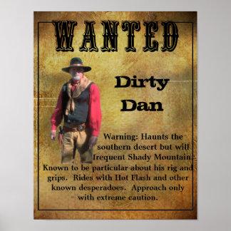 Gewolltes Plakat schmutziger Dan